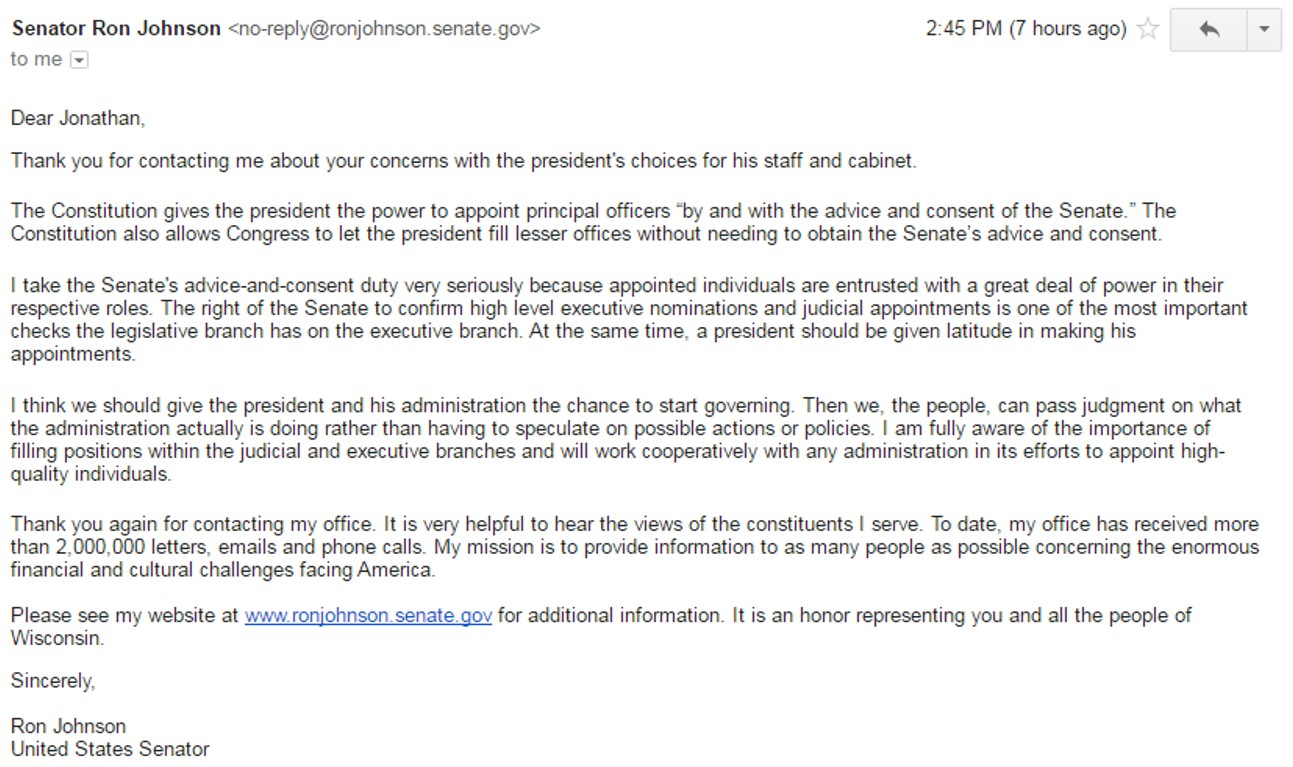 response from ron johnson